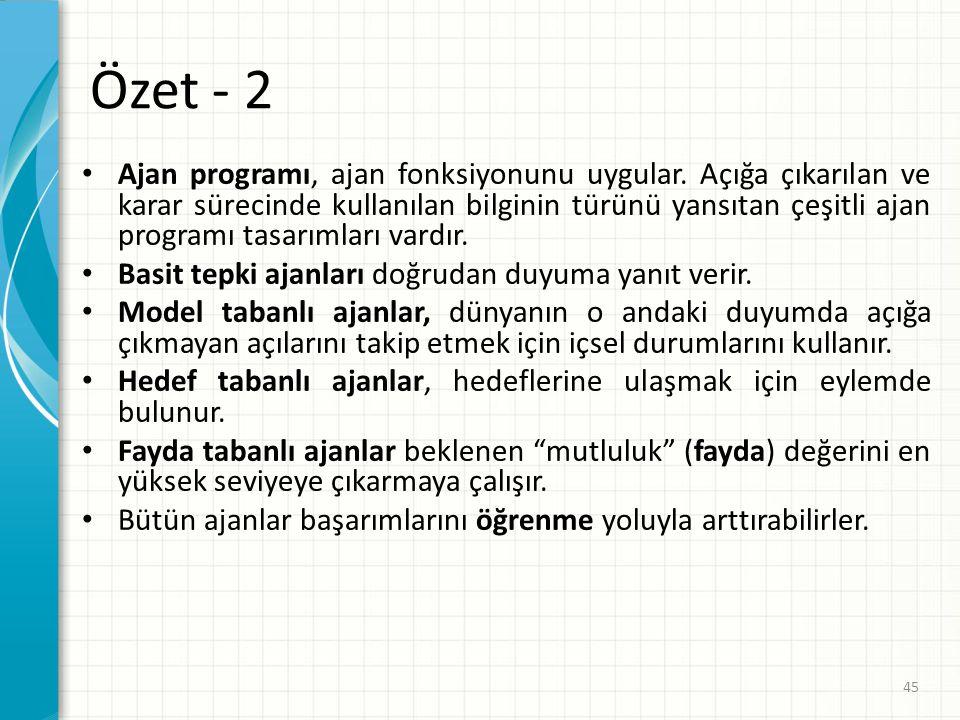 Özet - 2 Ajan programı, ajan fonksiyonunu uygular. Açığa çıkarılan ve karar sürecinde kullanılan bilginin türünü yansıtan çeşitli ajan programı tasarı