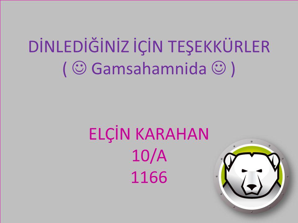 DİNLEDİĞİNİZ İÇİN TEŞEKKÜRLER ( Gamsahamnida ) ELÇİN KARAHAN 10/A 1166