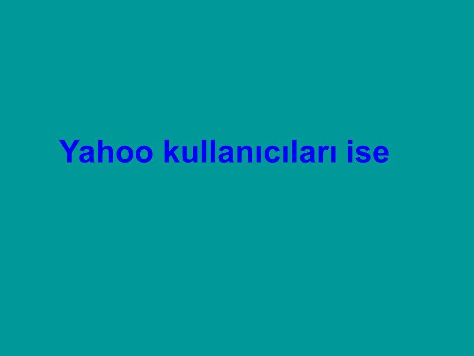Yahoo kullanıcıları ise