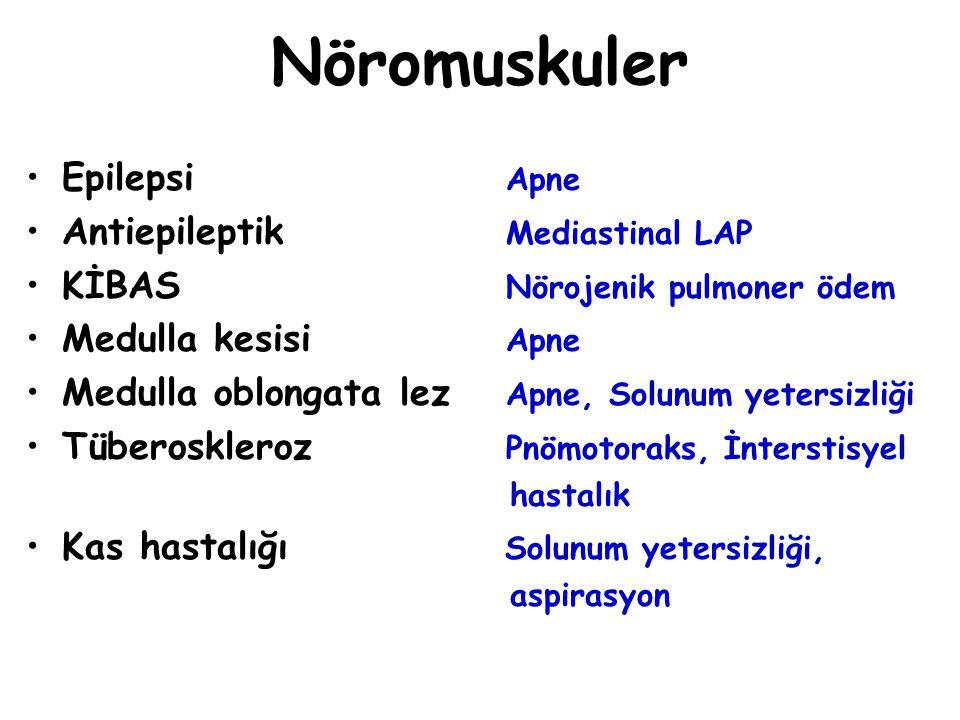 Nöromuskuler Epilepsi Apne Antiepileptik Mediastinal LAP KİBAS Nörojenik pulmoner ödem Medulla kesisi Apne Medulla oblongata lez Apne, Solunum yetersi