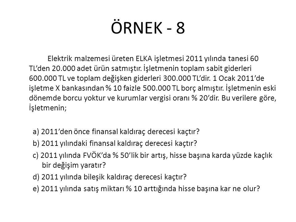 ÖRNEK - 8 Elektrik malzemesi üreten ELKA işletmesi 2011 yılında tanesi 60 TL'den 20.000 adet ürün satmıştır. İşletmenin toplam sabit giderleri 600.000