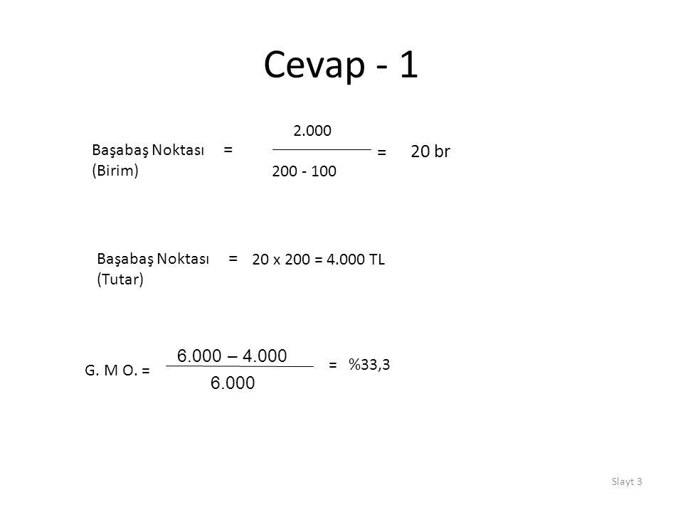 Slayt 3 Cevap - 1 Başabaş Noktası = (Birim) 2.000 200 - 100 = 20 br Başabaş Noktası = (Tutar) 20 x 200 = 4.000 TL G. M O. = 6.000 – 4.000 6.000 = %33,
