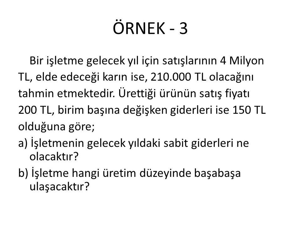 ÖRNEK - 3 Bir işletme gelecek yıl için satışlarının 4 Milyon TL, elde edeceği karın ise, 210.000 TL olacağını tahmin etmektedir. Ürettiği ürünün satış