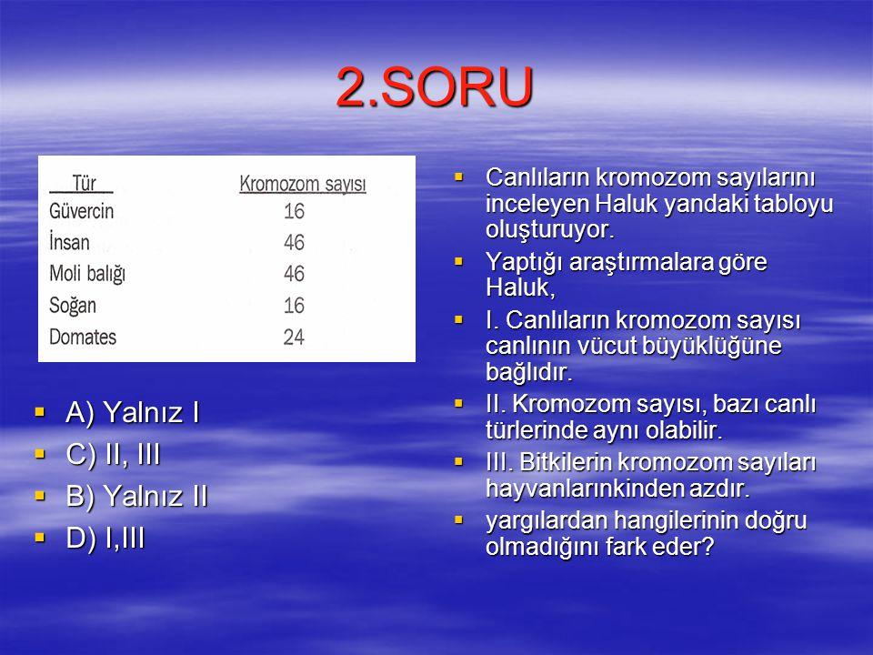 2.SORU  A) Yalnız I  C) II, III  B) Yalnız II  D) I,III  Canlıların kromozom sayılarını inceleyen Haluk yandaki tabloyu oluşturuyor.