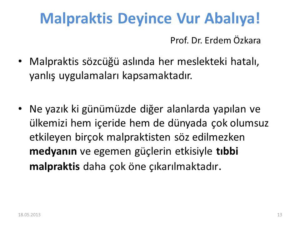 Malpraktis Deyince Vur Abalıya! Prof. Dr. Erdem Özkara Malpraktis sözcüğü aslında her meslekteki hatalı, yanlış uygulamaları kapsamaktadır. Ne yazık k