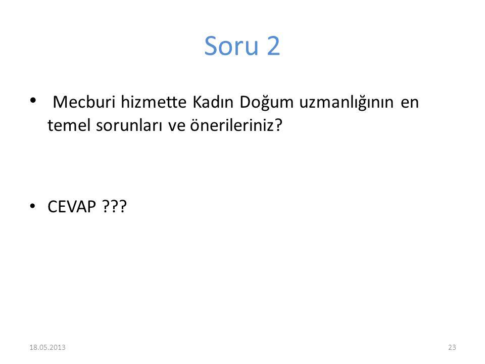 Soru 2 Mecburi hizmette Kadın Doğum uzmanlığının en temel sorunları ve önerileriniz? CEVAP ??? 2318.05.2013