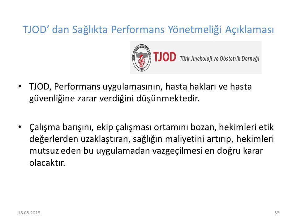 TJOD' dan Sağlıkta Performans Yönetmeliği Açıklaması TJOD, Performans uygulamasının, hasta hakları ve hasta güvenliğine zarar verdiğini düşünmektedir.
