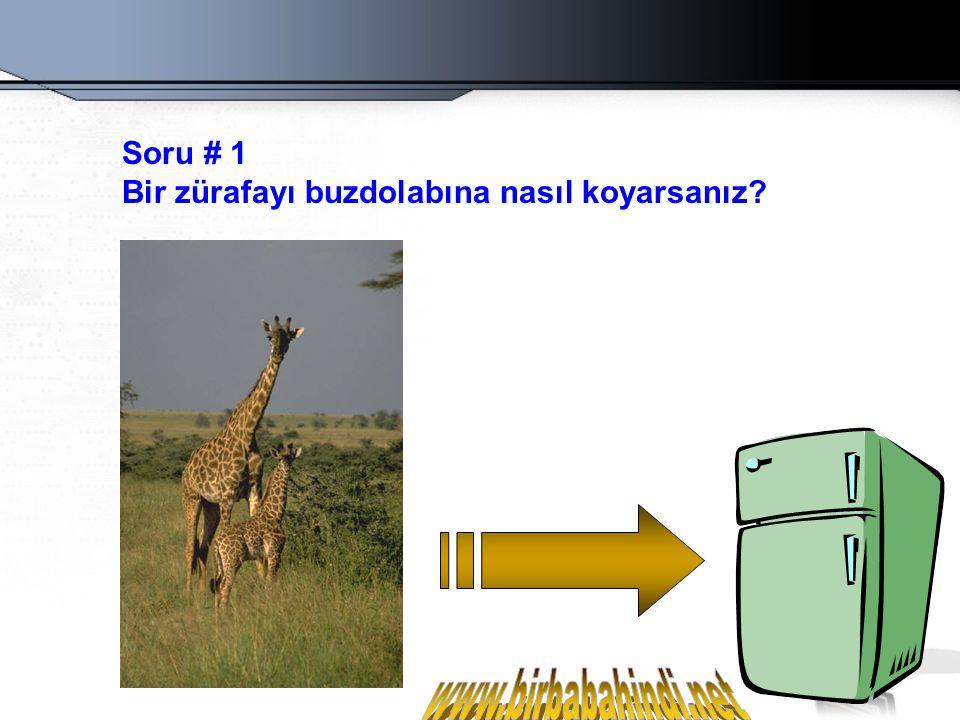Doğru Cevap: Buzdolabının kapısını açarım...Zürafayı rafa koyarım...Kapıyı kapatırım.