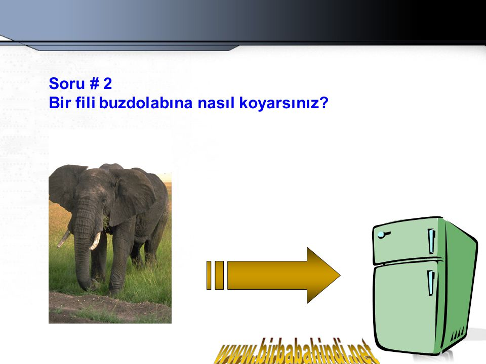 Yanlış cevap: Buzdolabının kapısını açarım, fili rafa koyarım, kapıyı kapatırım.