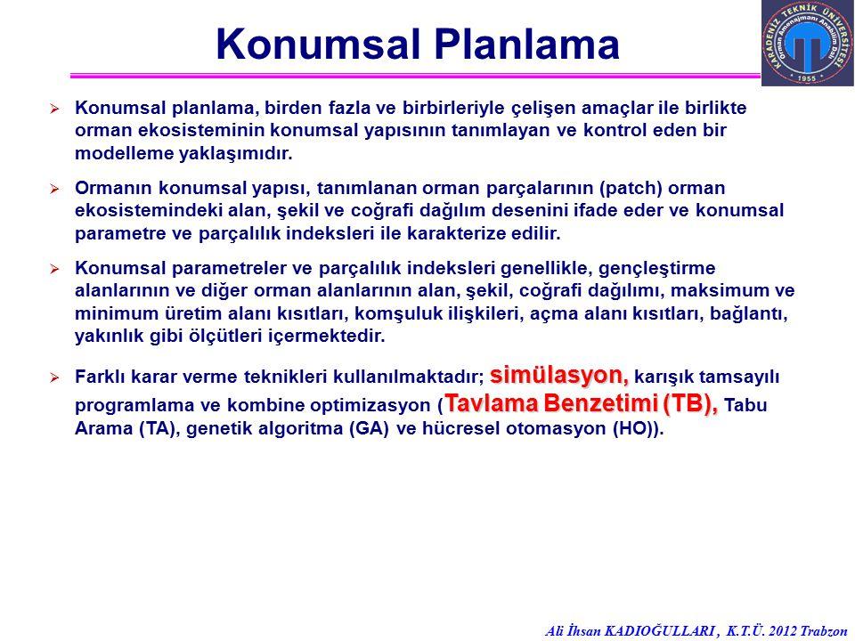 Ali İhsan KADIOĞULLARI, K.T.Ü. 2012 Trabzon Konumsal Planlama  Konumsal planlama, birden fazla ve birbirleriyle çelişen amaçlar ile birlikte orman ek