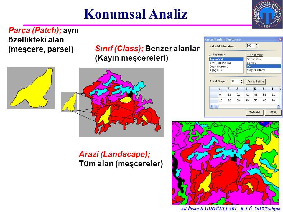 Ali İhsan KADIOĞULLARI, K.T.Ü. 2012 Trabzon Parça (Patch); aynı özellikteki alan (meşcere, parsel) Arazi (Landscape); Tüm alan (meşcereler) Konumsal A