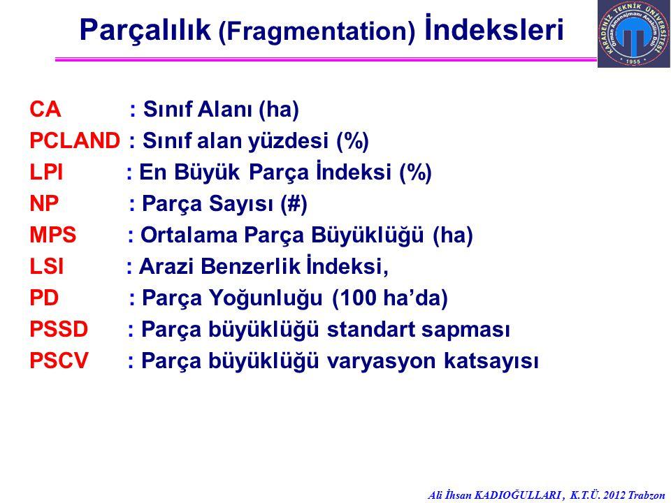 Ali İhsan KADIOĞULLARI, K.T.Ü. 2012 Trabzon Parçalılık (Fragmentation) İndeksleri CA : Sınıf Alanı (ha) PCLAND : Sınıf alan yüzdesi (%) LPI : En Büyük