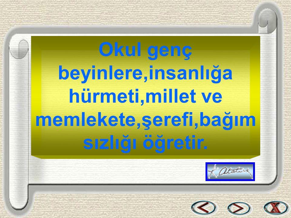 Bir & Bil www.birikimbilisim.com Okul genç beyinlere,insanlığa hürmeti,millet ve memlekete,şerefi,bağım sızlığı öğretir.