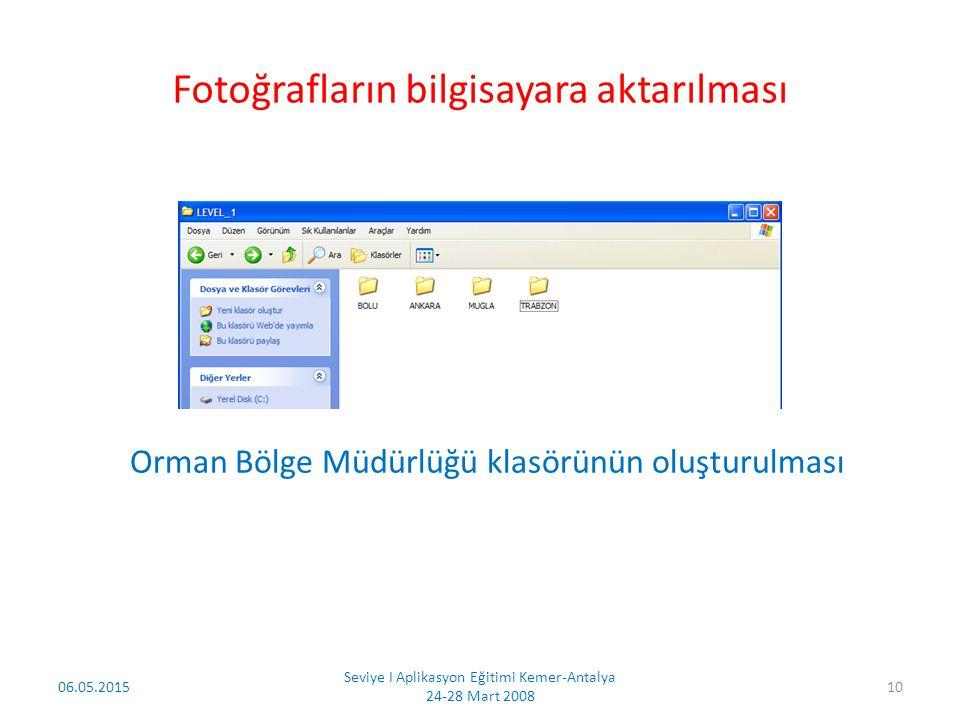 06.05.2015 Seviye I Aplikasyon Eğitimi Kemer-Antalya 24-28 Mart 2008 11 Her arazi çalışmasından sonra fotoğraflar bilgisayar ortamına aktarılacak ve her fotoğraf yeniden adlandırılacaktır.