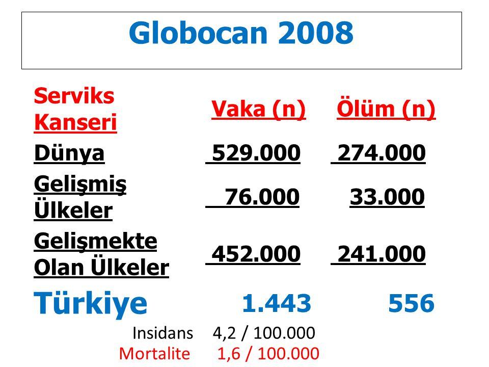 Globocan 2008 Serviks Kanseri Vaka (n) Ölüm (n) Dünya 529.000 274.000 Gelişmiş Ülkeler 76.000 33.000 Gelişmekte Olan Ülkeler 452.000 241.000 Türkiye 1