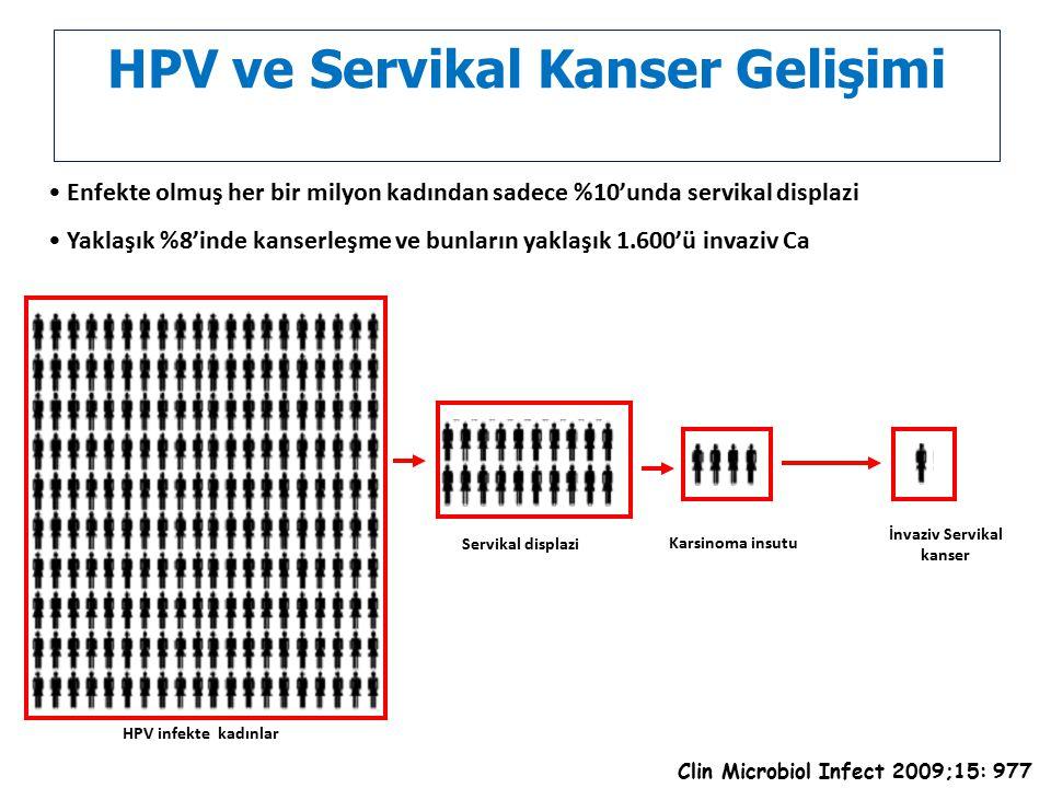 HPV ve Servikal Kanser Gelişimi Enfekte olmuş her bir milyon kadından sadece %10'unda servikal displazi Yaklaşık %8'inde kanserleşme ve bunların yakla