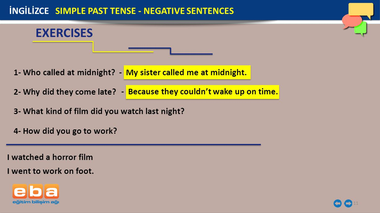 11 EXERCISES İNGİLİZCE SIMPLE PAST TENSE - NEGATIVE SENTENCES 1- Who called at midnight.