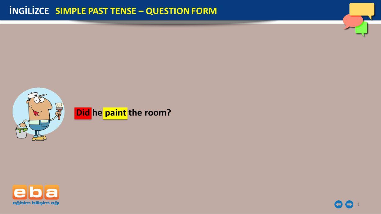 5 Soru kelimeleri kullanılarak yapılan soru cümlelerinde ise did yardımcı fiilinden önce soru kelimesi gelir.
