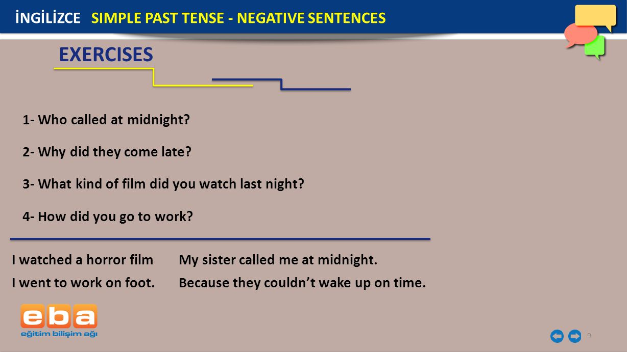 10 EXERCISES İNGİLİZCE SIMPLE PAST TENSE - NEGATIVE SENTENCES 1- Who called at midnight.