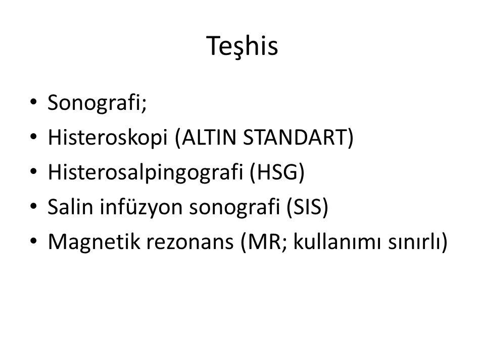 Teşhis Sonografi; Histeroskopi (ALTIN STANDART) Histerosalpingografi (HSG) Salin infüzyon sonografi (SIS) Magnetik rezonans (MR; kullanımı sınırlı)