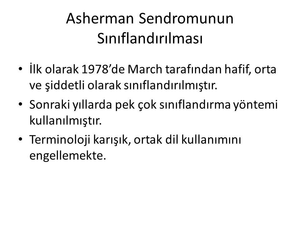 Asherman Sendromunun Sınıflandırılması İlk olarak 1978'de March tarafından hafif, orta ve şiddetli olarak sınıflandırılmıştır. Sonraki yıllarda pek ço