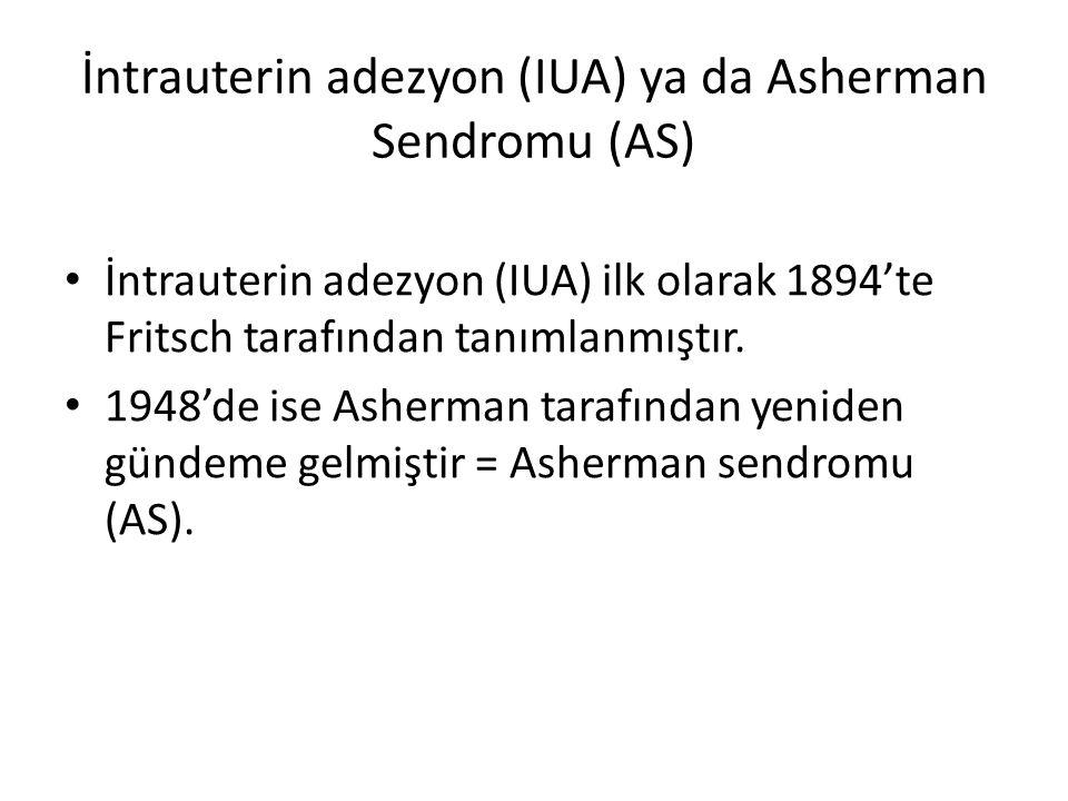 İntrauterin adezyon (IUA) ya da Asherman Sendromu (AS) İntrauterin adezyon (IUA) ilk olarak 1894'te Fritsch tarafından tanımlanmıştır. 1948'de ise Ash