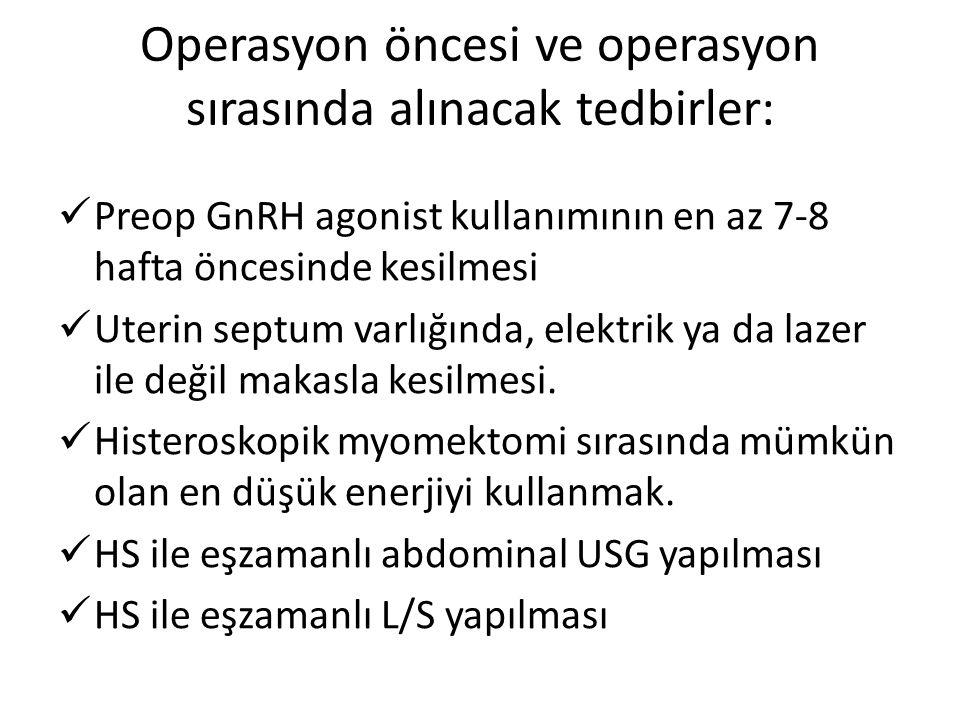 Operasyon öncesi ve operasyon sırasında alınacak tedbirler: Preop GnRH agonist kullanımının en az 7-8 hafta öncesinde kesilmesi Uterin septum varlığın