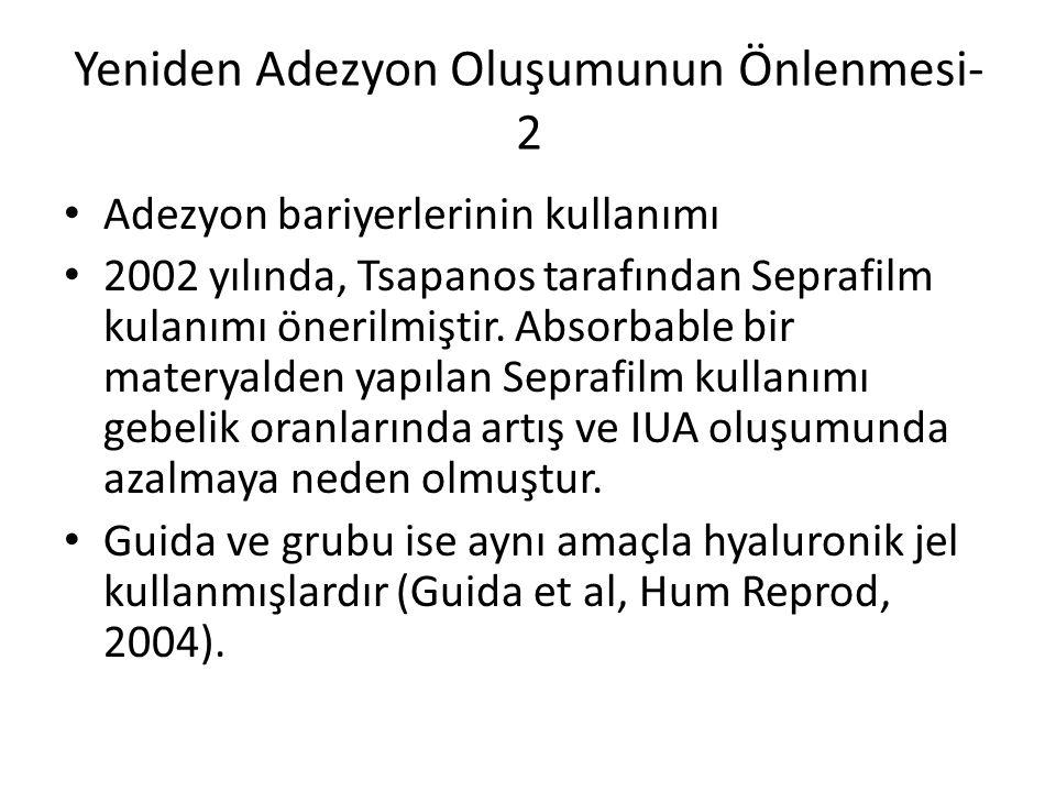 Adezyon bariyerlerinin kullanımı 2002 yılında, Tsapanos tarafından Seprafilm kulanımı önerilmiştir. Absorbable bir materyalden yapılan Seprafilm kulla