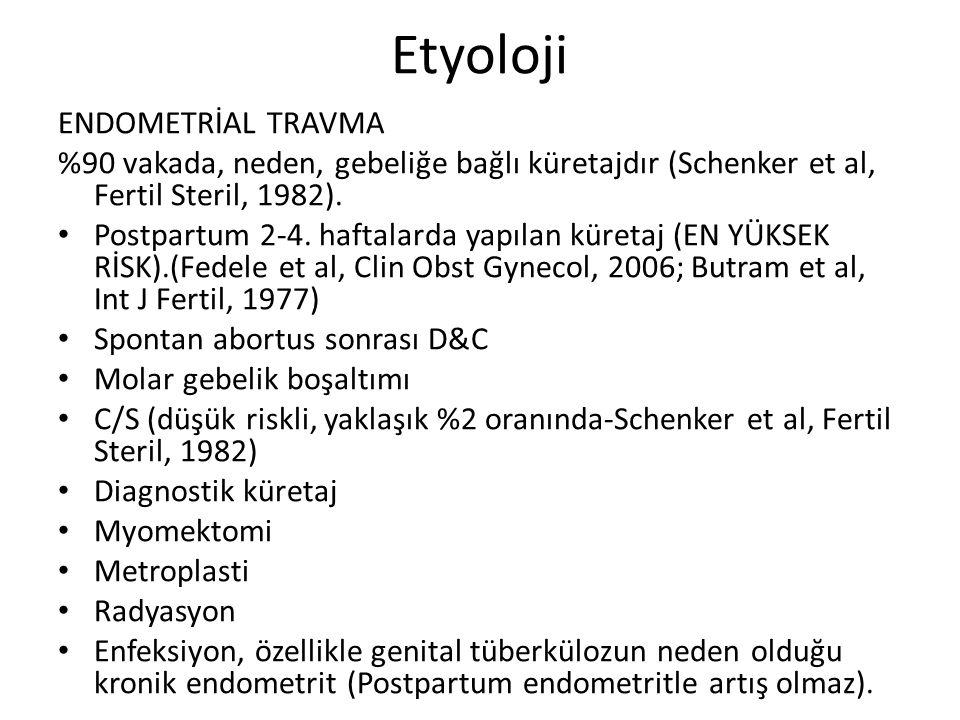 Etyoloji ENDOMETRİAL TRAVMA %90 vakada, neden, gebeliğe bağlı küretajdır (Schenker et al, Fertil Steril, 1982). Postpartum 2-4. haftalarda yapılan kür