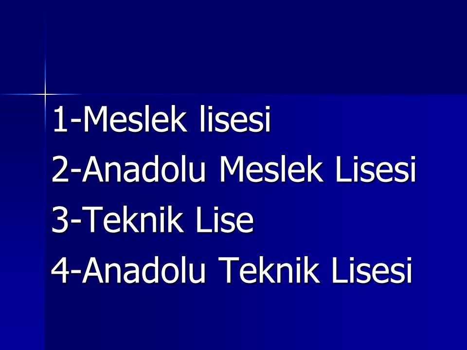 1-Meslek lisesi 2-Anadolu Meslek Lisesi 3-Teknik Lise 4-Anadolu Teknik Lisesi