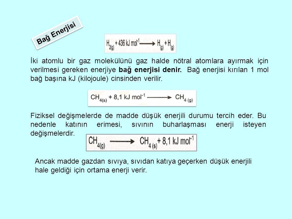 İki atomlu bir gaz molekülünü gaz halde nötral atomlara ayırmak için verilmesi gereken enerjiye bağ enerjisi denir.