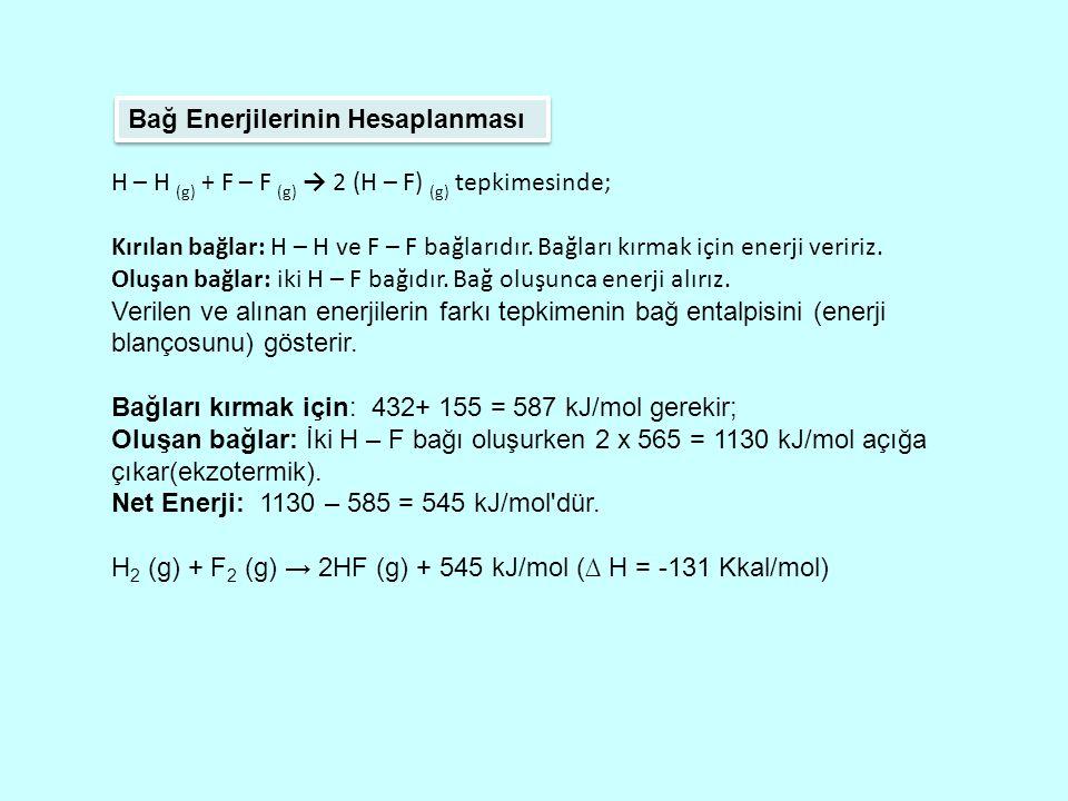 Bağ Enerjilerinin Hesaplanması H – H (g) + F – F (g) → 2 (H – F) (g) tepkimesinde; Kırılan bağlar: H – H ve F – F bağlarıdır.