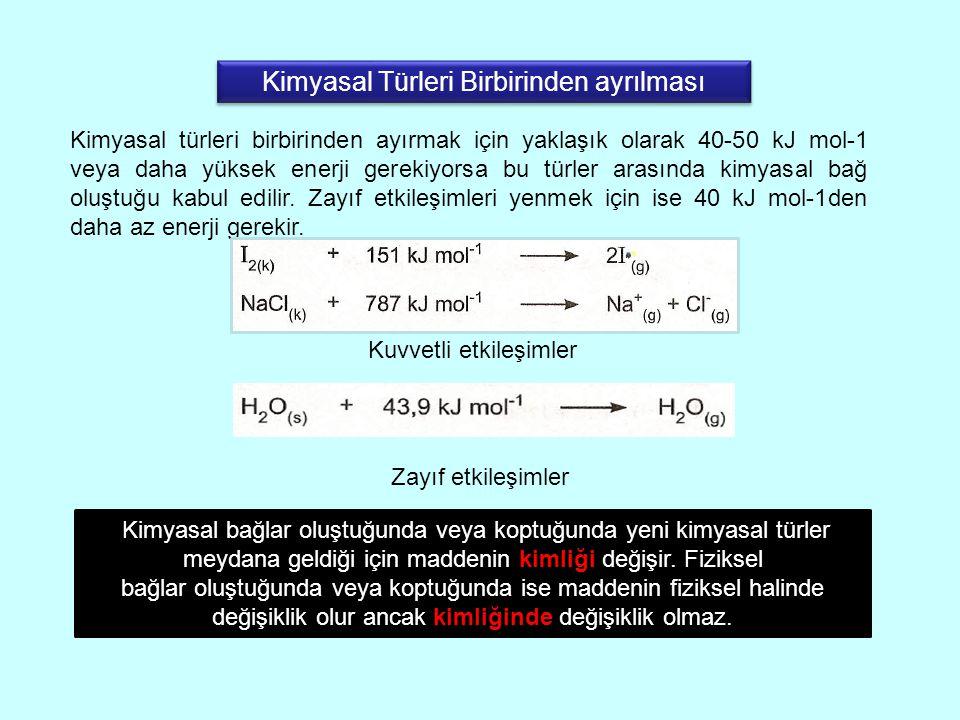 Kimyasal türleri birbirinden ayırmak için yaklaşık olarak 40-50 kJ mol-1 veya daha yüksek enerji gerekiyorsa bu türler arasında kimyasal bağ oluştuğu kabul edilir.