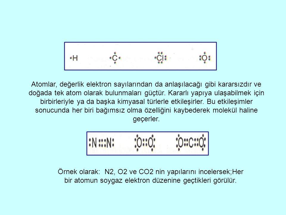 Atomlar, değerlik elektron sayılarından da anlaşılacağı gibi kararsızdır ve doğada tek atom olarak bulunmaları güçtür.