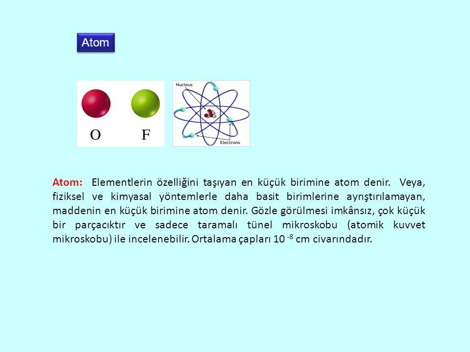 Atom Atom: Elementlerin özelliğini taşıyan en küçük birimine atom denir.