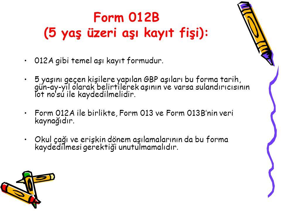 Form 012B (5 yaş üzeri aşı kayıt fişi): 012A gibi temel aşı kayıt formudur. 5 yaşını geçen kişilere yapılan GBP aşıları bu forma tarih, gün-ay-yıl ola