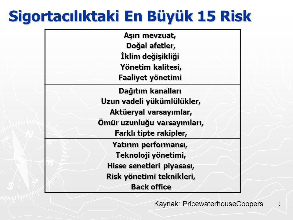 19 Sistematik Olmayan Riskin Kaynakları ► Finansal Risk ► Yönetim Riski ► Faaliyet Riski ► Endüstri Riski