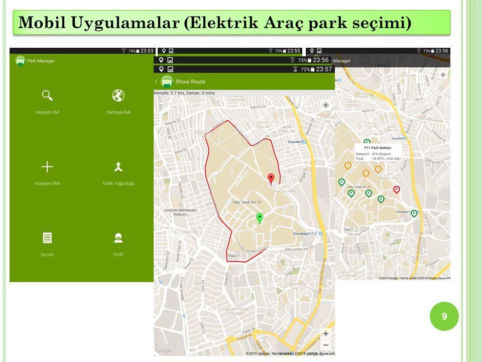 9 Mobil Uygulamalar (Elektrik Araç park seçimi)