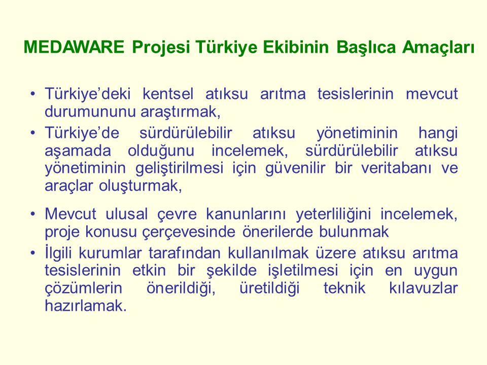 1.İller ve havzalar bazında belediyelerimizce tarafından hizmet gören nüfusun tespit edilmesi 2.Ülkemizin atıksu arıtma tesislerinde uygulanan (fiziksel, kimyasal ve biyolojik) teknolojilerin belirlenmesi ve performanslarının incelenmesi 3.Türkiye'deki mevcut atıksu artıma tesislerinin durumunun kalitatif ve kantitatif olarak belirlenmesi 4.Türkiye'de ugulanan veya en uygulanabilir atıksu arıtma ve alıcı ortamlara deşarj tekniklerinin araştırılması 5.Türkiye'de kentsel atıksu arıtma tesisleri çıkış sularının geri kazanımı ve sulama suyu olarak kullanım potansiyeli 6.Günümüzün ve gelecekteki deşarj standartlarının sağlanabilmesi için Türkiye'deki kentsel atıksu arıtma tesislerini iyileştirme çalışmalarının tanıtılması Proje için yapılan çalışmaların aşamaları (Türkiye'deki kentsel atıksu arıtma tesislerinin envanterinin oluşturulması)