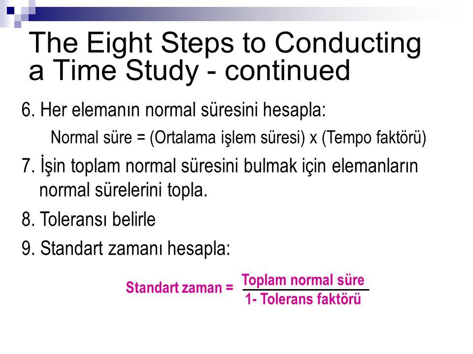6.Her elemanın normal süresini hesapla: Normal süre = (Ortalama işlem süresi) x (Tempo faktörü) 7.