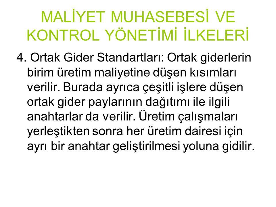 MALİYET MUHASEBESİ VE KONTROL YÖNETİMİ İLKELERİ 4.