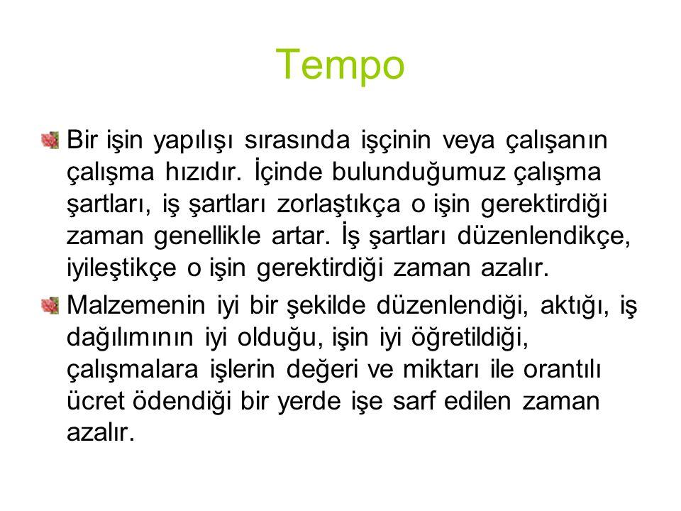 Tempo Bir işin yapılışı sırasında işçinin veya çalışanın çalışma hızıdır.
