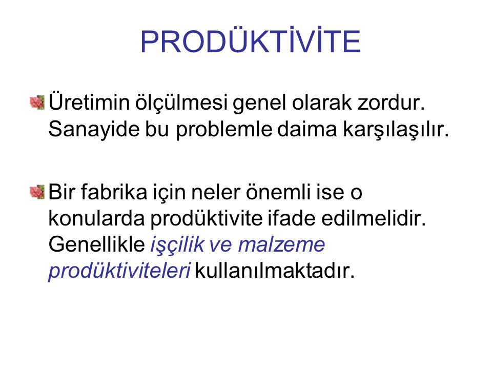 Üretimin ölçülmesi genel olarak zordur. Sanayide bu problemle daima karşılaşılır. Bir fabrika için neler önemli ise o konularda prodüktivite ifade edi