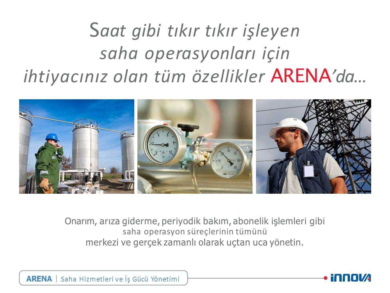 S aat gibi tıkır tıkır işleyen saha operasyonları için ihtiyacınız olan tüm özellikler ARENA 'da… Onarım, arıza giderme, periyodik bakım, abonelik işlemleri gibi saha operasyon süreçlerinin tümünü merkezi ve gerçek zamanlı olarak uçtan uca yönetin.