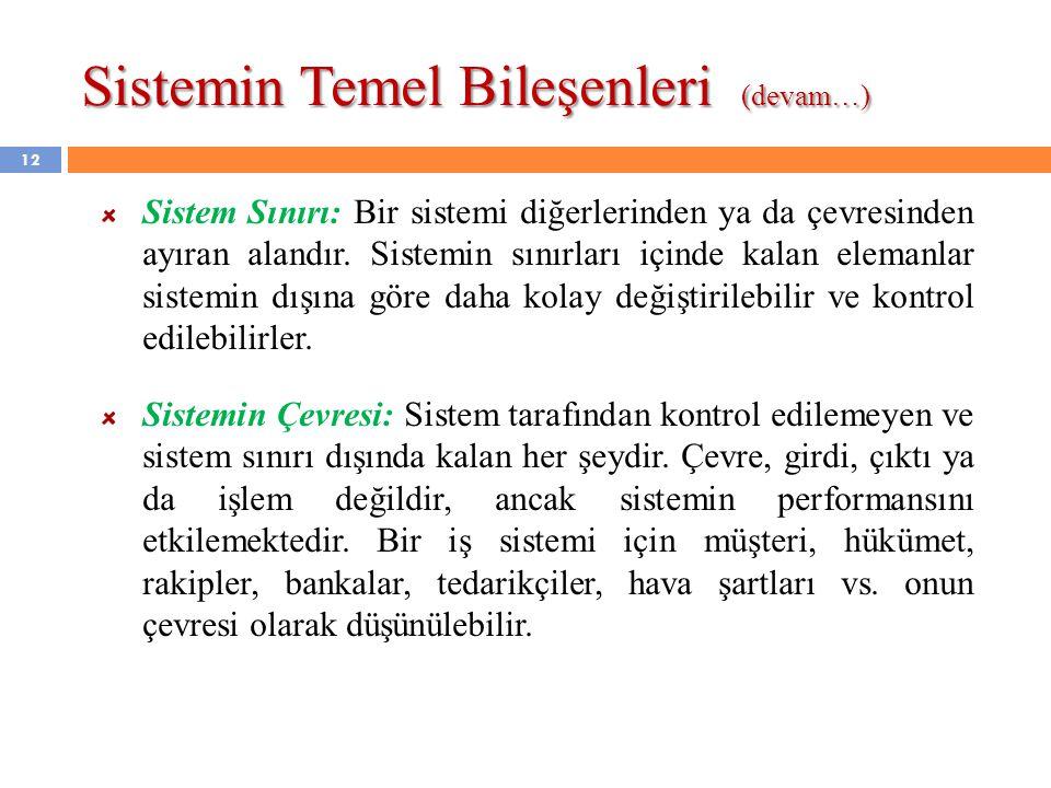 Sistemin Temel Bileşenleri (devam…) Sistem Sınırı: Bir sistemi diğerlerinden ya da çevresinden ayıran alandır. Sistemin sınırları içinde kalan elemanl
