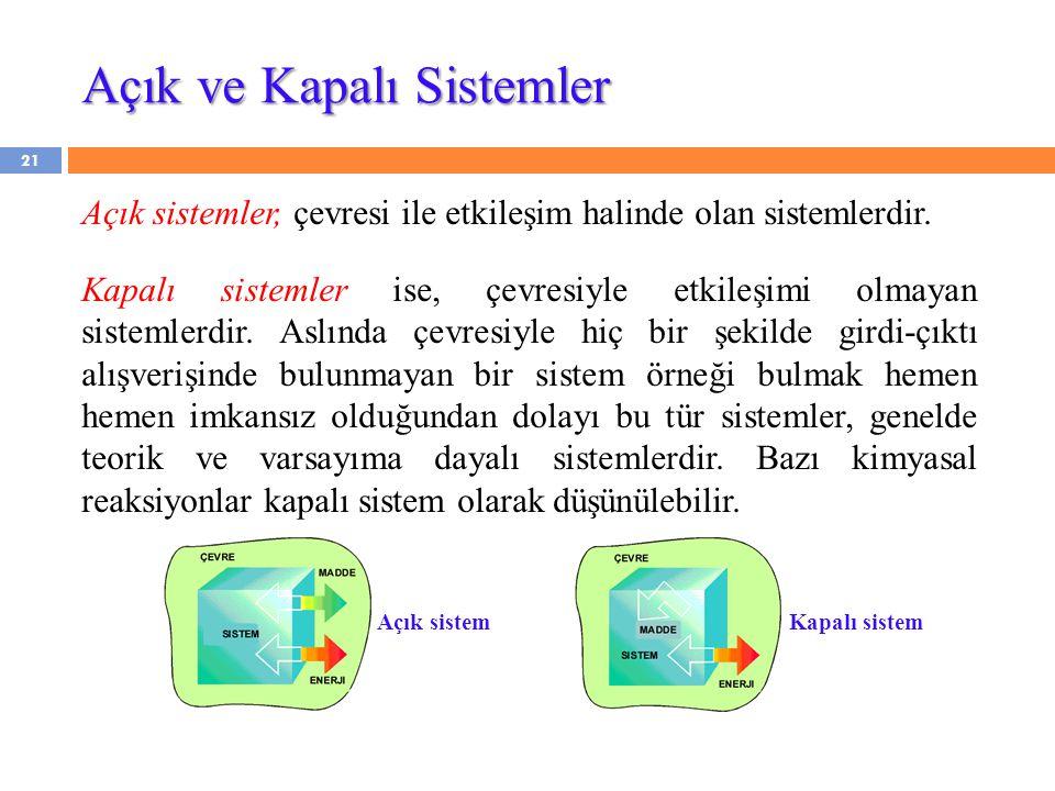 Açık ve Kapalı Sistemler Açık sistemler, çevresi ile etkileşim halinde olan sistemlerdir. Kapalı sistemler ise, çevresiyle etkileşimi olmayan sistemle