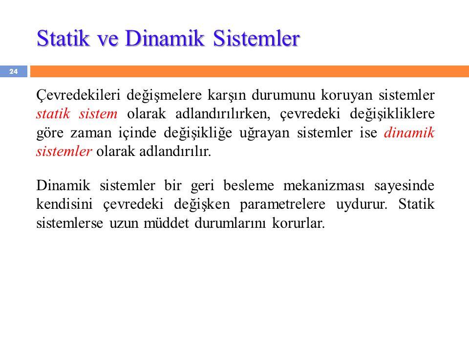 Statik ve Dinamik Sistemler Çevredekileri değişmelere karşın durumunu koruyan sistemler statik sistem olarak adlandırılırken, çevredeki değişikliklere