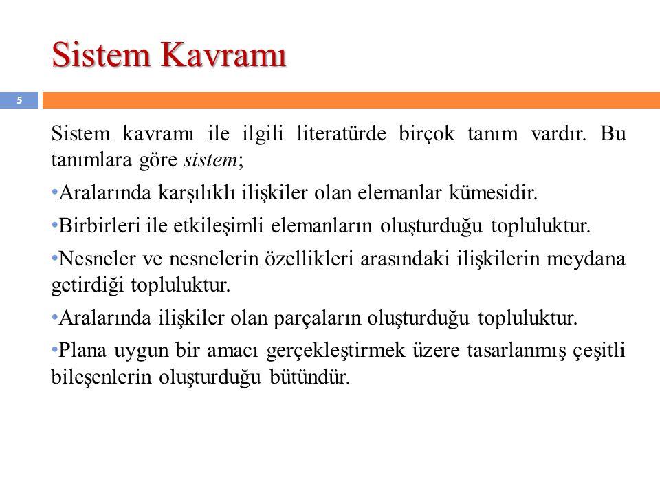 Sistem Kavramı (devam…) Sistem kavramı ile ilgili tanımları çoğaltmak mümkündür.