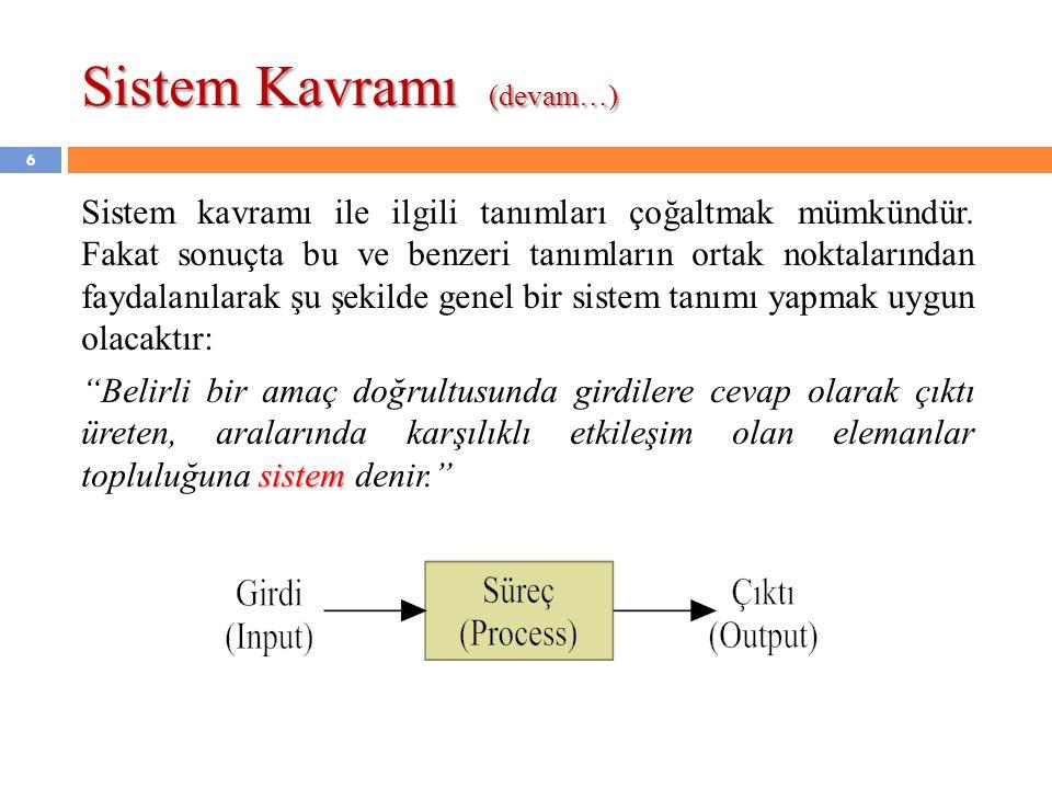 Sistem Kavramı (devam…) Sistem kavramı ile ilgili tanımları çoğaltmak mümkündür. Fakat sonuçta bu ve benzeri tanımların ortak noktalarından faydalanıl