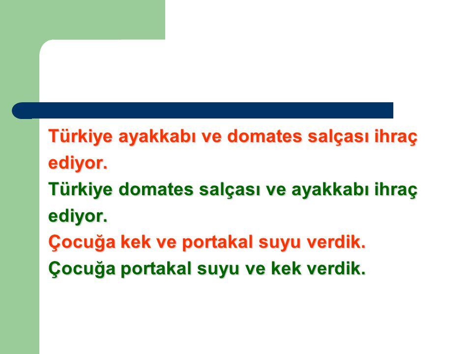 Türkiye ayakkabı ve domates salçası ihraç ediyor.Türkiye domates salçası ve ayakkabı ihraç ediyor.